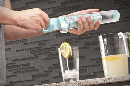 Cube Tube If you are tired of balancing those ice trays into the freezer, this might be for you.   Its vertical ice cube tray prevents spillage by allowing you to fill up a clear tube that works with a 14-cube divider to lock in the water