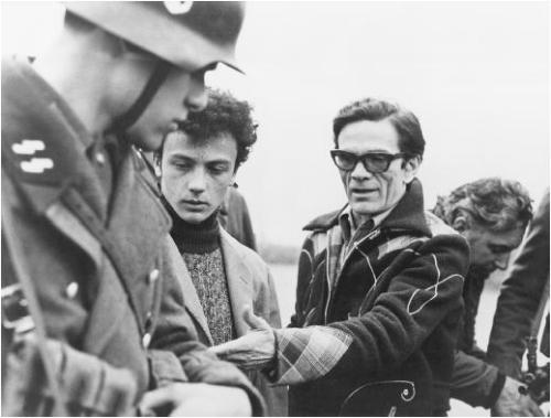Pier Paolo Pasolini on the set of Salò (1975).