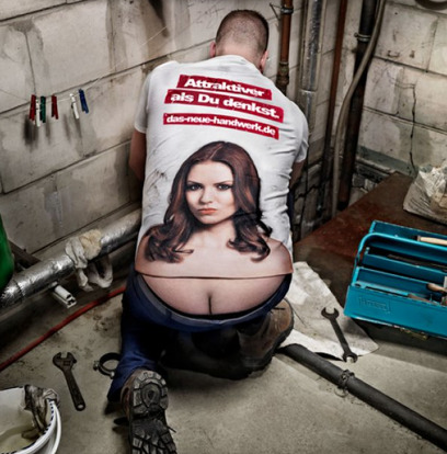 collegehumor:  T-Shirt Turns Plumber's Crack into Cleavage Wow, this plumber can fix anything.