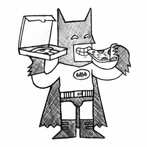 Batman enjoying pizza Friday. inspired by my friend @pseudonymjones' doodle.