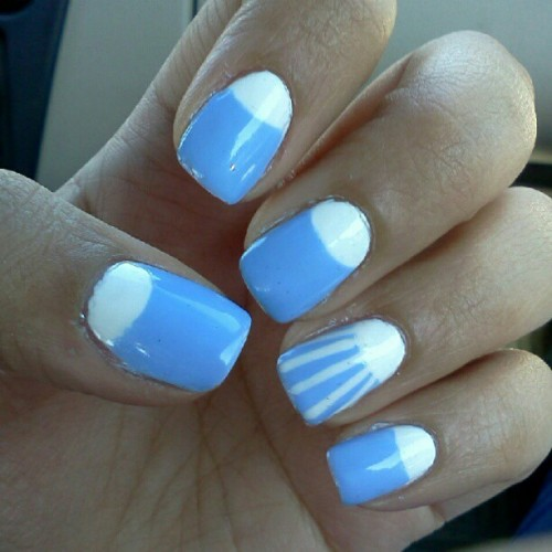 Once in a blue half moon #fingertipfriday #nailart #nails #nailartaddict #polish #halfmoon #design #Essie #BikiniSoTeeny #Zoya #Purity #blue #manicure  (Taken with Instagram)