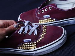 keepbreathingevenifyoufail:  My studded vans!  #DIY