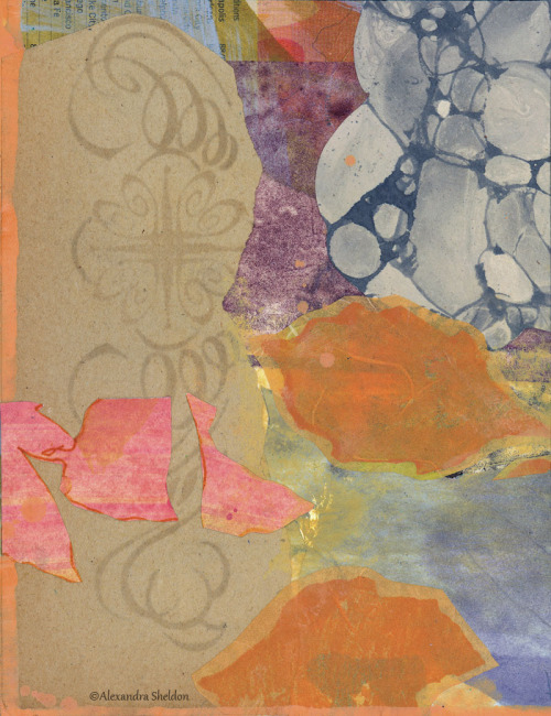 mixed media collage by Alexandra Sheldon contact
