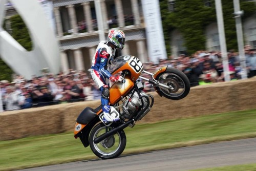 Troy Corser on a vintage BMW superbike at Goodwood