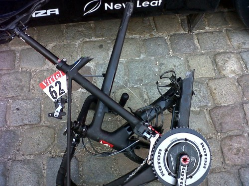 fuckyeahcycling:  Tour de France 2012 | Stage 6 Tom Danielson has shared this picture of his broken bike.  Tom, who was already riding with a separate shoulder from a previous stage's crash, hit the ground hard and injured his other shoulder.  The end of this year's Tour for him. (via Twitter / tomdanielson: Here is what happened to m)  Ouch! Next Year Garmin!