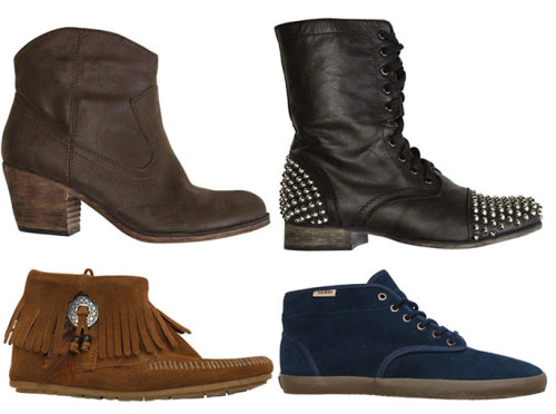 "Preview: Fall FootwearA few (wear-now) styles that will have you skipping through summer and strutting into the new season…Moccasins (feat. Minnetonka)These suede duos are back; laced with Southwest prints, beading, and fringe to spare. Ankle BootiesPair them with the season's tunic silhouette for a playful Summer-to-Fall look.High Tops and Mid TopsBecause power slides and cut-offs just wouldn't look the same without them. StudsFall is re-defining the term ""spiked heels,"" and our feet are 100% on board with it. See more Fall Preview styles: Fall Footwear"