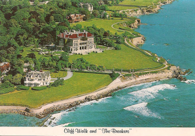 "fuckyeahroadtrippostcards:   ""Cliff Walk and The Breakers - Newport, R.I. Newport's world famous Cliff Walk winds along the shore for two miles, passing between many fabulous mansions and the blue Atlantic. Most famous of these is The Breakers, built for Cornelius Vanderbilt in 1895. Since 1948, when it was opened to the public by the Preservation Society of Newport, it has become the state's number one tourist attraction. Open April 1 to November."""