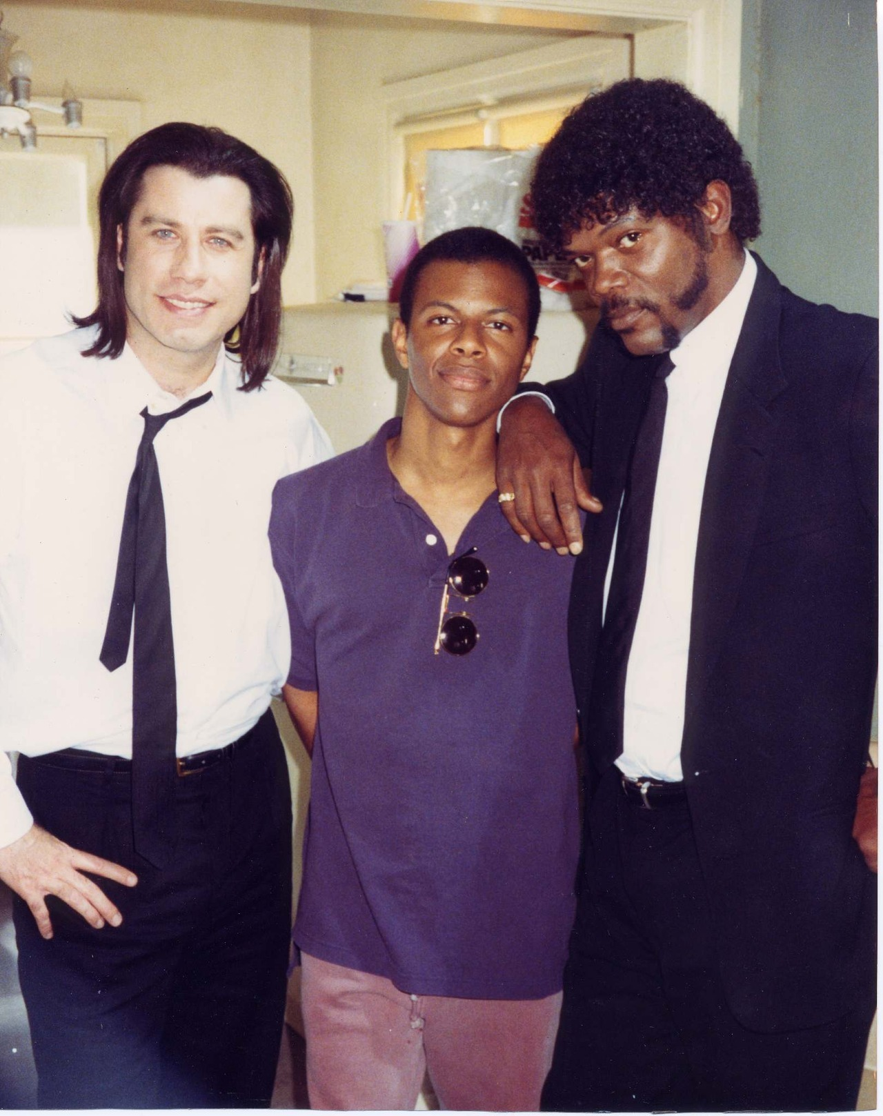 John Travolta, Phil Lamarr and Samuel L. Jackson on the set of Pulp Fiction