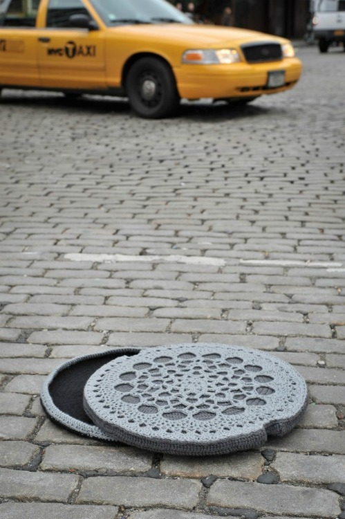 crochet manhole cover by Nathan Vincent