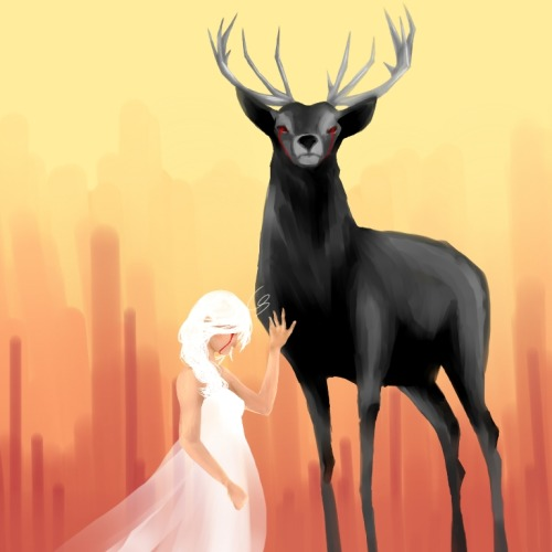 theicarustheory:  Black Stag Painting - Digital —- Somebody tell me what ginormous red-eyed black stags mean when you see them in a dream. It's gotten me fixated for some reason. And I suppose when you refuse to sleep and start drawing fictional woodland creatures until six in the morning, something's going on.  Lol I'm going to die or something