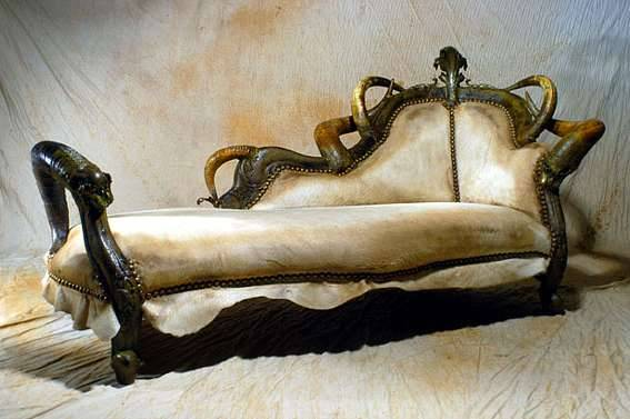 House Targaryen Chaise, made with large, gnarled Dragon Claws (by Michel Hillard)