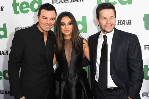 verysherry:  Seth MacFarlane, Mila Kunis and Mark Wahlberg | 'Ted' LA Premiere - June 21, 2012