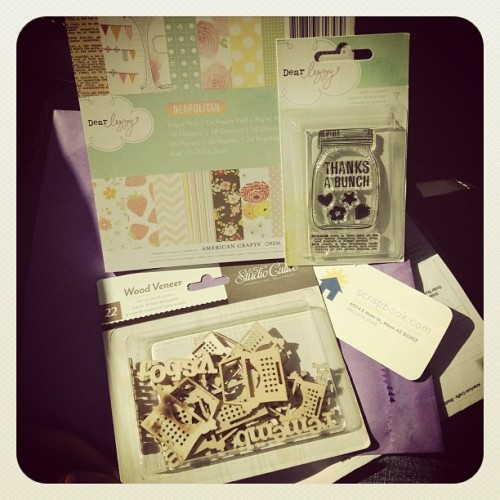 Just made it in time for pickup! Whew! @scrapbookcom #scrapbook #scrapbooking #dearlizzy #neapolitan #masonjar #stamp #paper #woodveneer #studiocalico #diecut (Taken with Instagram at Scrapbook.com)