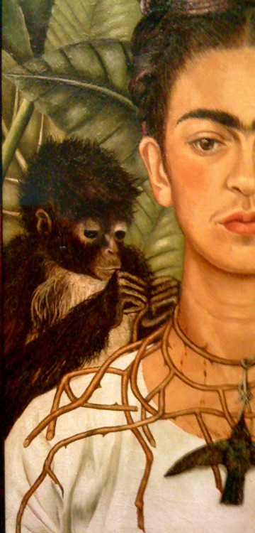 "Frida Kahlo, Self-portrait with Thorn Necklace and Hummingbird (detail)  Feliz Cumpleanos hermosa FRIDA KAHLO 106 years!!  CAM: You have inspired many of a Chicano and Mexican-American to create, dream, and go against the grain. First time I saw ""Las Dos Fridas"" in person I was stunned for a minute, and could not believe how mighty this piece was in size and in inspiration. That is when I connected why so many artist have recreated this lovely masterpiece by Magdalena Carmen Frida Kahlo y Calderón."