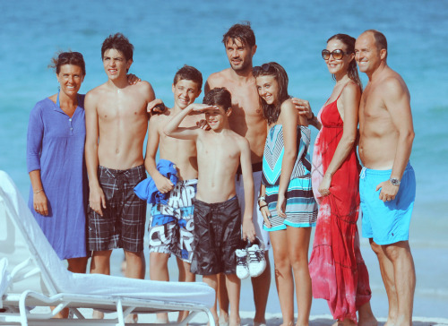 Paolo Maldini and family vacationing in Miami.