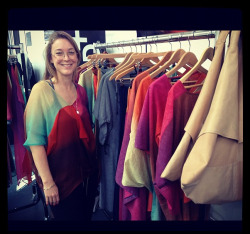 Designer Stephanie Franzius with her multicolor creations. Photo by Hili Perlson.