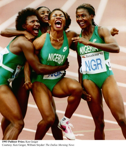 dynamicafrica:  OLYMPIC  FOCUS: Barcelona '92 Olympics - Nigeria's 4 x 100 Meter Women's Relay team This 1993 Pulitzer Prize Award-winning photo by Ken Geiger and William Snyder of The Dallas Morning News shows the reaction of the Nigerian 4 x 100 Meter Women's Relay team after reading the scoreboard announcing that they had won bronze at the event.