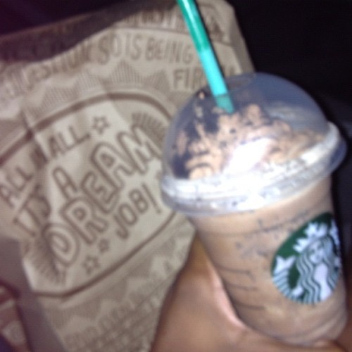 Chipotle &' Cookie Crumble Frappicino 👍 #Dinner (Taken with Instagram)