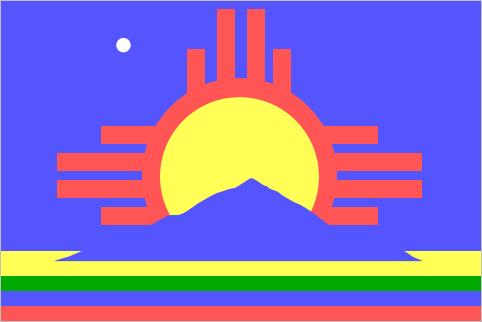 Roswell (1996-Present)  I suspect this flag might have been designed on an Atari 2600.