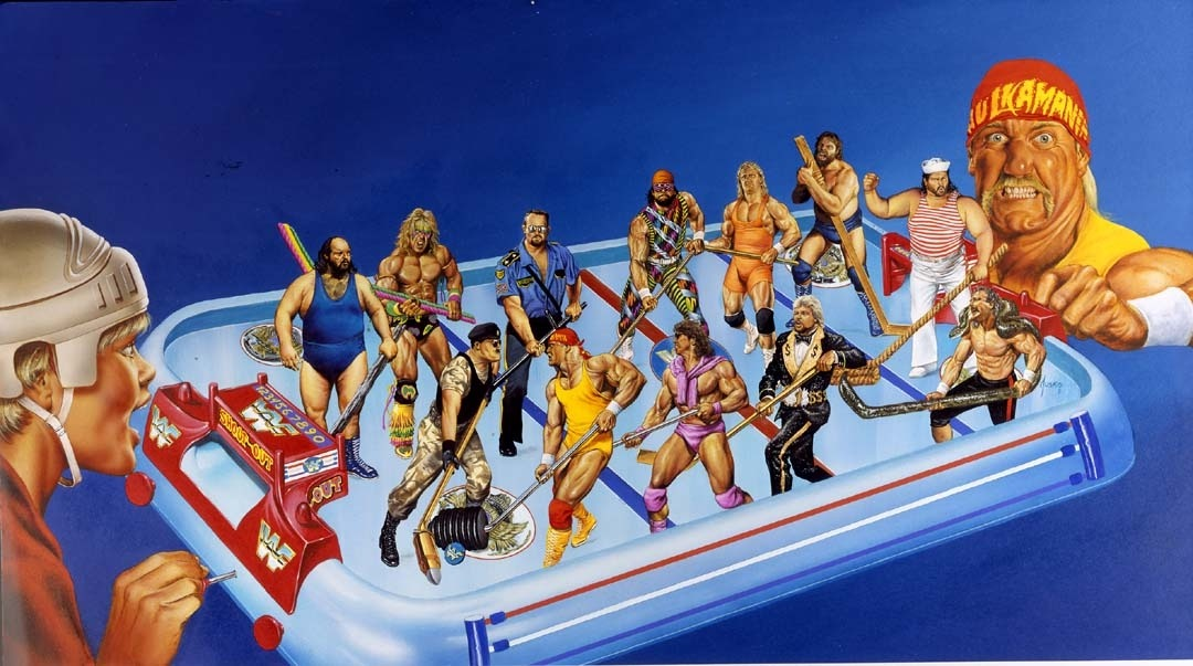 Did you ever play WWF Superstars Shootout? A table-top game for wrestling Champions!