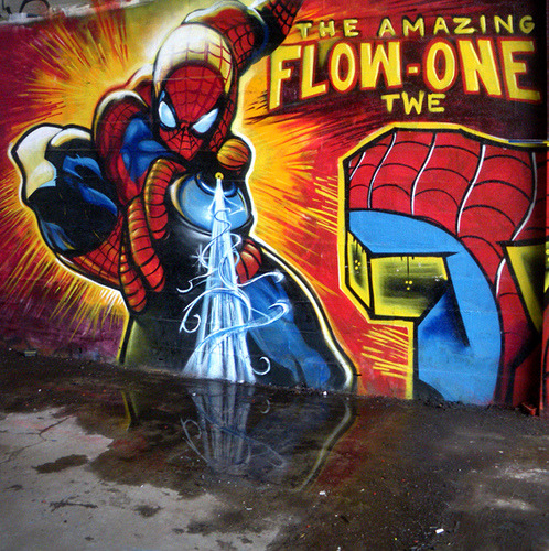 albotas:  Daily Graffiti: The Amazing Spider-Man Bombastic piece by Flow-One of the TWE crew. Check out the DAILY GRAFFITI ARCHIVES for more geektastic street art!