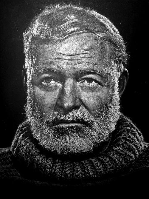 Ran across this portrait of Hemingway today at work and was just floored. One of the most stunning portraits I've ever seen. Photo is by Yousef Karsh, from Wikimedia Commons.