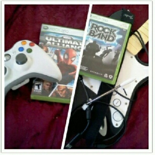 What's the verdict, guys? :) #RockBand or #UltimateAlliance? Or should I just stick with watching King of the Hill? #sketchum  (Taken with Instagram at BATCAVE)