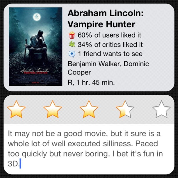 #instareview of Abraham Lincoln: Vampire Hunter (Taken with Instagram at Alamo Drafthouse Cinema – Lake Creek)