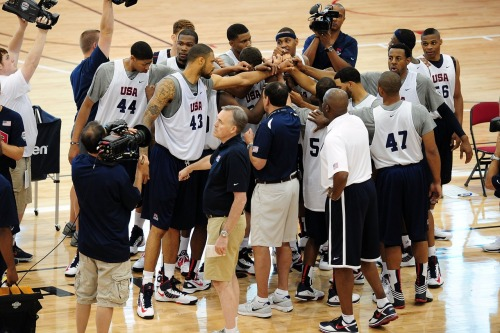 *chant : U-S-A! U-S-A! Lets go Dream Team!!! nba:   July 6, 2012: USA Basketball Training Camp in Las Vegas. (Photo by Andrew D. Bernstein/NBAE via Getty Images)