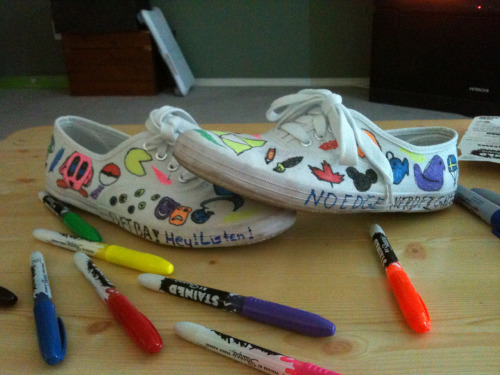 Alaska's Nerdfighter shoes :) don't know how long it took, maybe two or three hours. Hope to make more soon!!