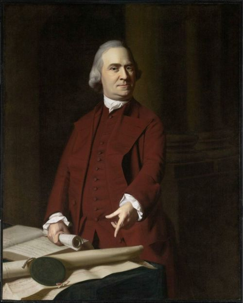 "cavetocanvas:  John Singleton Copley, Samuel Adams, c. 1772 From the Museum of Fine Arts, Boston:  In this celebrated portrait, Adams is shown at what he himself would always consider his greatest moment: his confrontation with Royal Governor Thomas Hutchinson the day after the Boston Massacre of March 5, 1770, during which Adams demanded the expulsion of British troops from the town. He points to the charter and seal granted Massachusetts by King William and Queen Mary; in his right hand is the clearly legible petition ""Instructions of … Town Boston,"" prepared by his aggrieved fellow citizens.  Although Copley was careful not to advertise his political views, the commission to paint Adams gave him the opportunity to experiment with a kind of portraiture that was as radical as his subject. Most of his earlier paintings adhered to the convention of including attributes that alluded in only a general way to the career of the sitter—a merchant might be shown with a ledger, a landowner against a grand architectural backdrop, and so on. A portrait occasioned by a significant event in the sitter's life—such as marriage or coming into an inheritance—would refer to the event obliquely, if at all. In an era when portraits were meant to present an ideal conception of the subject, more direct allusions would have been considered too particularizing. But in Samuel Adams there are no distancing, moderating decorative accessories; the sitter is commandingly real, almost terrifyingly present. Copley linked the portrait to a specific historic moment that was urgently familiar to all who saw it. Yet at the same time he created an image with a larger-than-life message. Adams's defiant gesture and gaze arrest the viewer, who is cast in the role of Governor Hutchinson himself. The charge to Hutchinson, who unlike other royal representatives was not imposed upon Massachusetts from abroad but was himself a Bostonian, was also a challenge to the viewer's loyalty, a challenge at once stirring and discomforting. Adams's declamatory gesture, worthy of a Roman senator, connotes power and authority; his figure is unusually sculptural. Although his zeal is undeniable, there is little of the fanatic, the incendiary here. The documents he points to insist upon the rule of law, not emotion, and the classical columns behind him underscore an association with republican virtue and rationality. Adams is presented as a man of reason, and the image is all the more potent for it."