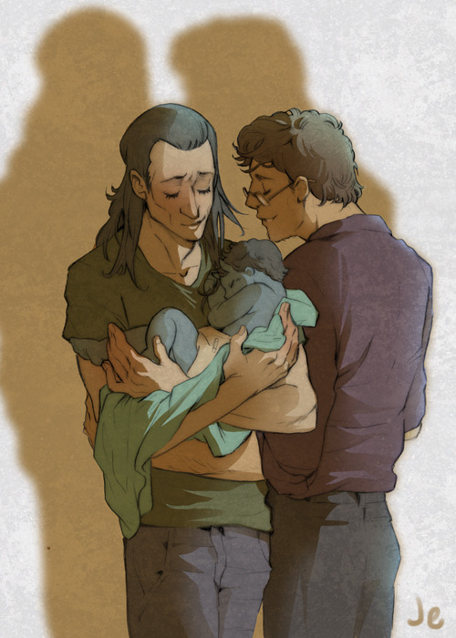 joannaestep:  So, remember those Loki-holding-babies wips I talked about?  I finished one. UNNECESSARY BACKSTORY: so Kat and I rp some things, and one of the things we rp is this universe in which Loki and Bruce Banner hooked up and had a little blue, horned hulkbaby.  (Makes perfect sense, right?) Anyway, their baby's name is Rama.  If he looks familiar, it's because i have in fact drawn him before.