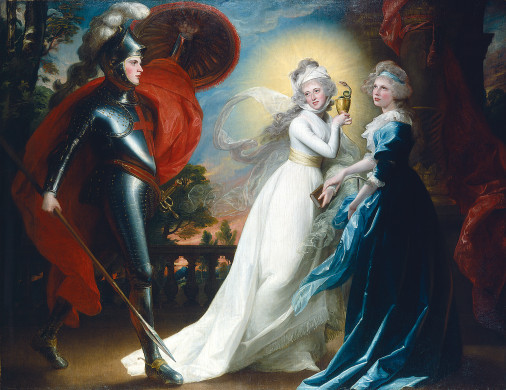 "cavetocanvas:  John Singleton Copley, The Red Cross Knight, 1793 From the National Gallery of Art:  This idyllic scene illustrates an episode from Edmund Spenser's Faerie Queene, published in 1590. The lengthy Elizabethan poem concerns a Christian soldier's search for Truth. Early in his quest, the knight encounters two lovely personifications of virtue. Faith, gowned in purest white and surrounded by a halo of divine light, holds a chalice with a serpent she need not fear. Hope, garbed in heavenly blue, carries a small anchor that recalls the biblical mention of hope ""as an anchor of the soul."" To quote Spenser, the Red Cross Knight himself wears ""on his brest a bloudie Crosse."" The models were the artist's own handsome children, now seventeen years older than when they posed for The Copley Family. John, the boy hugging his mother in that painting, is the Red Cross Knight. Elizabeth, the daughter standing in the center of the family portrait, is Faith, and Mary, the infant on the sofa, is Hope. The Red Cross Knight, Copley's only painting inspired by literature, was shown at the Royal Academy in 1793."