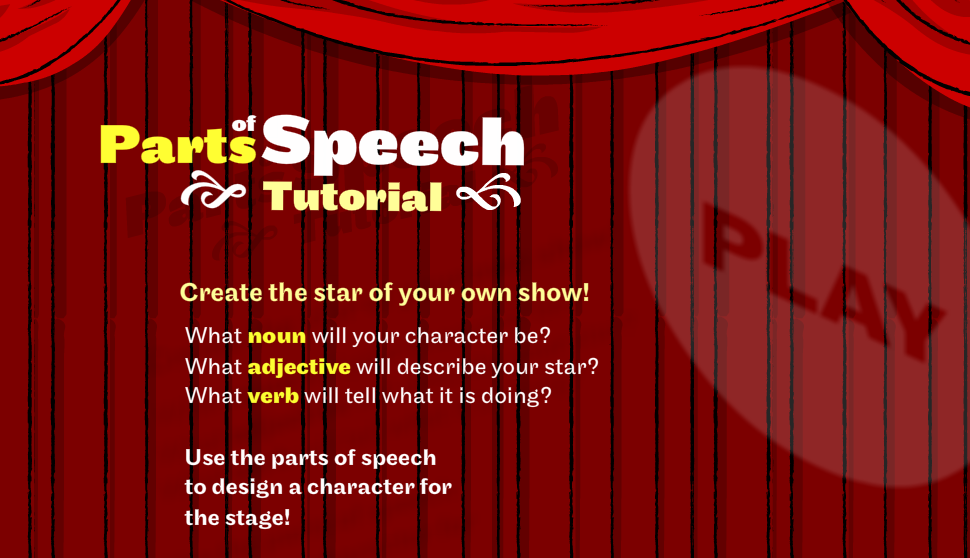 Parts of Speech Tutorial and Games I needed some grammar games to use with a cute second grader that I tutor, which focused on nouns and verbs. I found this site and thought it would be perfect. It begins with a fun little tutorial.  Here's a few others I also liked. Verb Power Word Invasion Blast the Rocket (verbs) Verb Viper (very nice) Rain Forest of Nouns (very nice)