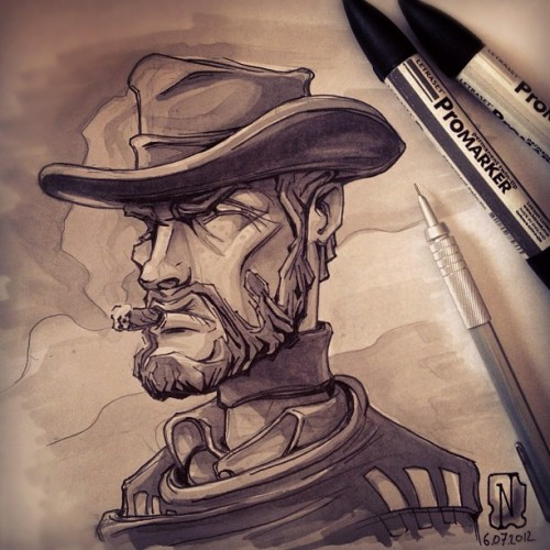 "Guess who's next?!?! ""Monco"" of a ""for a few dollars more"". #promarker #art #illustration #wester #wildwest #cowboy #clinteastwood #hero #sergioleone #hat #cigar #smoker #legend (Taken with Instagram)"