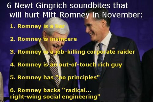 How bad IS Mitt? He's so bad that even a sub-human like Newt Gingrich can get away with calling him a lying scumbag and look better in comparison. yeeeesh.  #tfly
