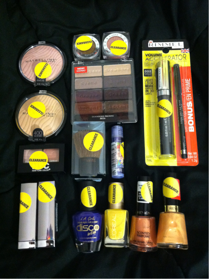 "Rite Aid Clearance Haul!Maybelline Illuminators in Blissful Pink & Ray of GoldNYC Eyeshadow Duo in Brighton PeachMaybelline Colorsensational Lipsticks in Caribbean Coral Luster & First Class FushiaL'oreal Infallible Eye Shadows in Gleaming Bronze & Pink SapphireBlack Radiance Eyeshadow Palette in Downtown BrownsMaybelline Kabuki Bronzer BrushLipsmackers Little Mermaid chapstick in BerryRimmel Volume Accelerator Mascara LA Girl Disco Brites in HustleL'oreal Nail Polish in ""Tweet Me""Revlon Colorstay Nail Enamel in ""Fig Jam"" & ""Gold Coast"" So, this was just supposed to be a quick run to the drugstore and low & behold, Rite Aid is already having their Summer clearance in makeup! Everything you see here was 50% the original price (minus the Black Radiance Eye Palette, but I'll get into that later). So if you have a chance tomorrow, be sure to scope out your local Rite Aid for some of these goodies!  Let me know if you would like any reviews or swatches on any of these! xo"