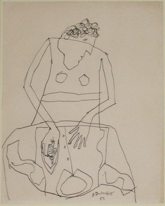 paintmeblack:  JEAN DUBUFFET. WOMAN IRONING A SHIRT, I. (DECEMBER 1951)