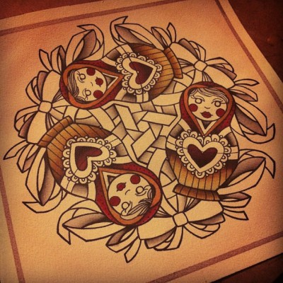 Progress on the matryoshka mandala painting I'm giving my mom for her birthday :) (Taken with Instagram)
