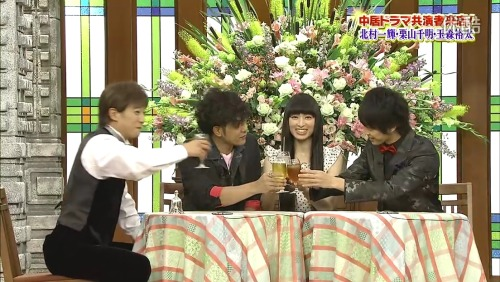 ok let's see, Nakai and Kitamura.. lol definitely alcohol xDKuriyama.. could be water lol could be something else.Tamais like having ice lemon tea. LOL