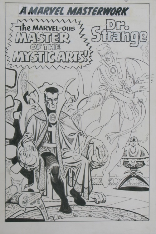 Here's a Doctor Strange pin-up by Steve Ditko that ran, in all places in an issue of MARVEL COLLECTORS' ITEM CLASSICS well after Ditko had left Marvel. There's been some speculation that it had originally been done as a splash page, but that doesn't seem likely looking at it.