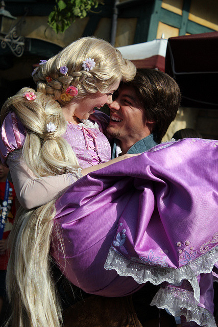 "merverb:  randomtales:  Rapunzel and Flynn Rider on Flickr. my heart couldn't take. I blame Flynn. Because right away when he saw us waiting for them he said ""you guys waited for us"" and then picked up Rapunzel. I died at the eskimo kiss♥♥  MY OTP why are you JUST AS AWESOME in face character form?  YOU'RE NOT SUPPOSED TO WORK IN THE REAL WORLD… BUT YOU DO"