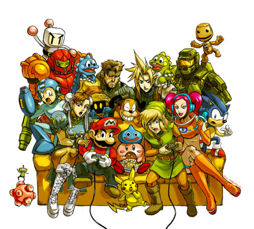 Backseat Gaming Character list: Bomberman, Samus Aran (Metroid), Bub & Bob (Bubble Bobble), Solid Snake (MGS), Cloud Strife (FF7), Master Chief, Sackboy (Little Big Planet), Mega Man, Vivi (FF9), Dog (Duck Hunt), Prince (Katamari), Chun-Li (Street Fighter), Mario, Slime (Dragon Quest), Kirby, Pikachu, Link, Ulala (Space Channel 5) & Sonic the Hedgehog. Created by Nina Matsumoto  Website || deviantART || Tumblr