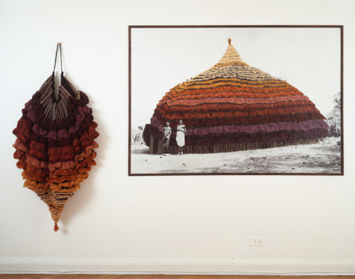 museumuesum:  ELAINE REICHEK East Africa. 1985. Knitted wool yarn and twigs, and oil on gelatin silver print. Overall 66 in. x 8 ft. 10 in. (167.6 x 269.2 cm)