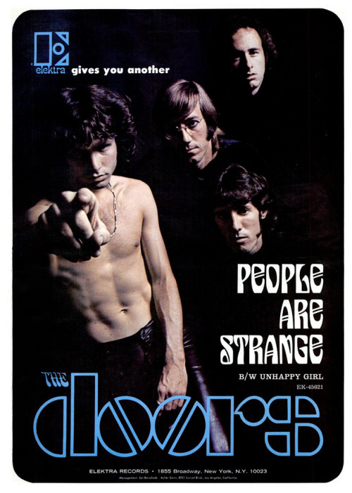 theswinginsixties:  Advertisement for The Doors' 'People Are Strange', September 1967.