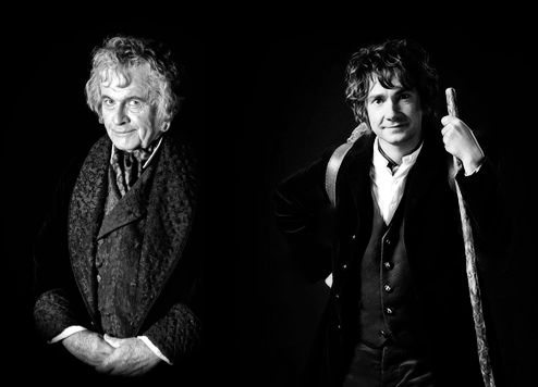 chiefleisure:  Ian Holm and Martin Freeman together as Bilbo Baggins.(I re-edited my first version to make it a bit clearer)