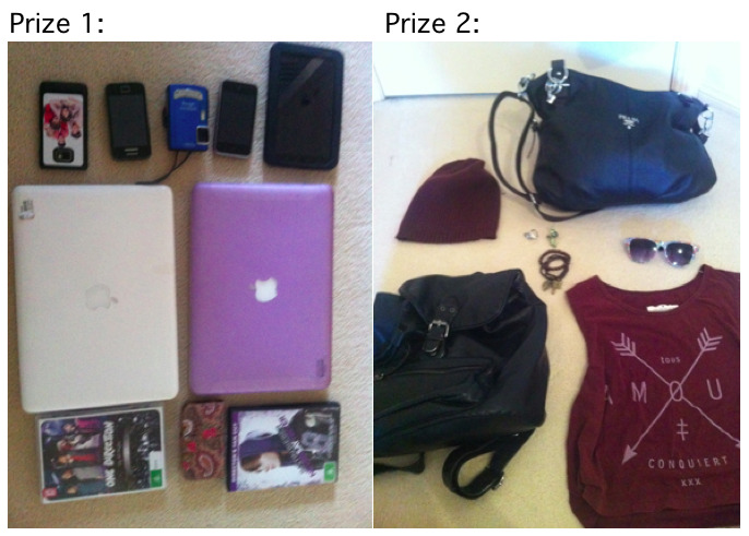 emily-fagnano:  MASSIVE GIVE AWAY!!! Prize One (electronics):  2 apple laptops  samsung galaxy 11 samsing galaxy ace underwater camera  samsing galaxy tablet  one direction movie justin bieber movie  iphone 4 and iphone case  iphone 3s Prize Two (fashion): beanie  prada bag  city beach bag  palament top Floral Glasses Peacock Ring Feather Ring Cross Bracelets  Beaded Bracelets  To win you must be following. we check so don't bother lying…  http://emily-fagnano.tumblr.com/ http://newyorkvibe.tumblr.com/ http://its-infinity-babe.tumblr.com/ Reason why were giving away We had a clean out and decided we would give some things to our beautiful followers, we have new editions of the above electronics and don't need the old versions.  To Win: -Reblog This -Like This -Promote us THE PEOPLE WHO WE MOST NOTICE MORE HAVE A HIGHER CHANCE OF WINNING! SO REBLOG AS MUCH AS YOU CAN  Competition Closes Winner will be annouced on the 3rd of august 2012 We will write a post and message the winner individually. If the Winner does not claim the prize in the 24hrs of the announcement, we will give the prizes to the next most noticeable blogger and etc… PRIZES First Place: Prize One Second Place: Prize Two Third Place: Dailey Promo's for a week from all of our blogs! START REBLOGING, ENJOY, LOVE YOU ALL xx