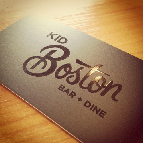Kid Boston for drinks, beautiful #branding, anyone know who did it? (Taken with Instagram)