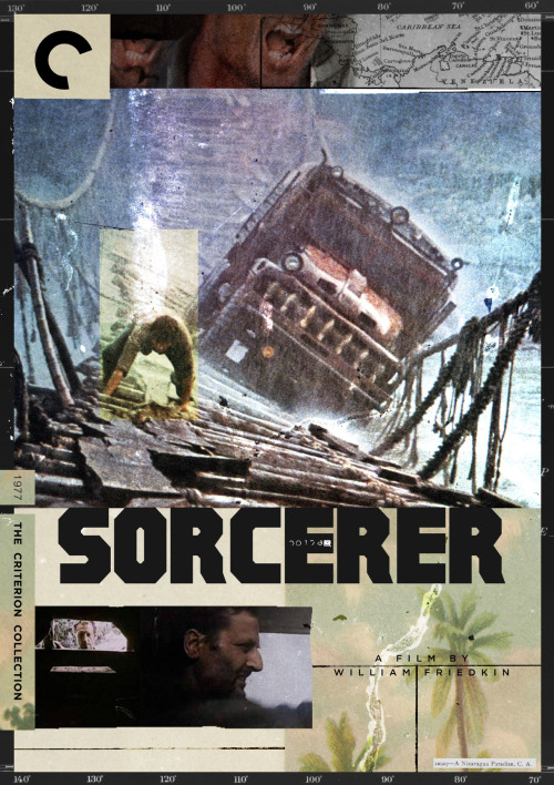 "Criterion Cover for William Friedkin's 1977 ""Sorcerer"" William Friedkin one of the seminal directors of the 70's with such hits as The French Connection and The Exorcist. Set out in the heart of the Dominican Republic to shoot what would prove to be his most ambitious project to date. The film would be an epic remake of the french classic ""The Wages of Fear""  but would be renamed Sorcerer instead. The picture stands as a testament of a true Hollywood visionary. Not too many directors at the time would have taken such a challenge. Friedkin and his crew worked tirelessly under savage conditions on Sorcerer. The film tells the Tale of a group of outcasts hired to work in an oil drilling company in South America, after a horrific disaster at their camp site; They set out to drive two ancient trucks filled with unstable and dangerous dynamite into miles of treacherous jungle, with their fates hanging in the balance. Friedkin has stated that the film is his personal favorite. I know that it's a film that i have marveled at for quite sometime, and that I have attempted to work on several designs for the better part of a year. So i hope that with this Criterion cover the powers that be will find a way to get the film out in all it's glory to the masses of fans who have be craving for it. Please help me in spreading the message out to Friedkin himself, he has a wonderful Twitter account that I highly recommend regardless of this post. Support the man !! He has a new film coming out called ""Killer Joe"" which looks amazing. MM = Midnight Marauder Behance 