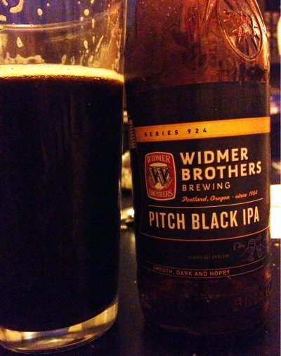 Pitch Black IPA, Widmer Brothers Brewing, Portland, OR, 6.5% abv. Don't sweat the nomenclature, this American Black/Cascadian Dark/Black IPA is simply an outstanding, medium-bodied IPA but with a deep brown, nearly black color and an additional layer of roasted malt complexity.